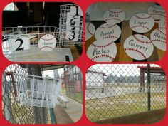 2015 dugout idea! Instead of doing the baskets on the ground & markers on the fence I'm doing a basket on the fence with their name and number. Glove, helmet and a drink fit in the basket. Purchased wire freezer basket at Walmart along with flower pot hooks.   I used 3d paint and foam sheets for the baseballs.