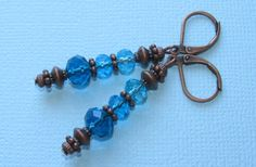 Triple CRYSTAL Ocean Blue Color Copper by BusyBeeBumbleBeads