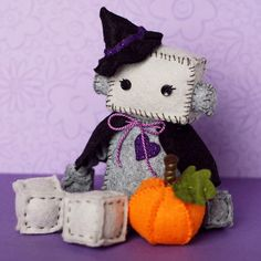 Witch Robot Plush with Hat Cape Pumpkin and Heart by GinnyPenny, $30.00
