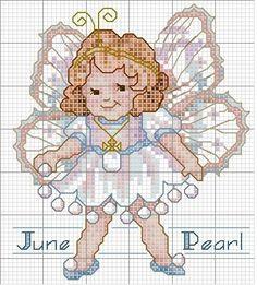 Toddler Birthstone Fairy June Pearl Cross Stitch Pattern 3/5
