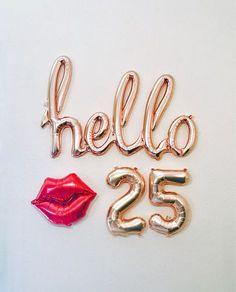 Rose Gold Hello 30 Balloon Decoration for Birthday Party 25th Birthday Parties, 21st Birthday Decorations, Happy 21st Birthday, Birthday Bash, Birthday Wishes, Birthday Cards, Gold Birthday, 25 Birthday Quotes, Thirty Birthday