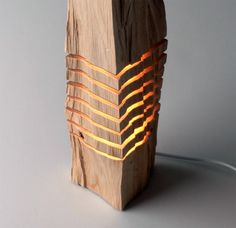 California Cedar Wood Lamp: Some wood and light! The designer based in Los Angeles, Paul Foeckler, made a series of wood lamps and sculptures, California cypres Wooden Floor Lamps, Wooden Lamp, Wood Floor, Cypress Wood, Room Lamp, Desk Lamp, Luz Led, Wood Sculpture, Lamp Light