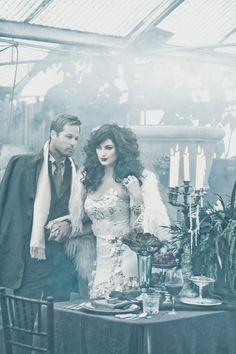 Elegant Dark Wedding, Bride and Groom Wedding Bells, Wedding Bride, Dream Wedding, Wedding Dresses, Wedding Hairs, Fall Wedding, Diy Wedding, Vampire Wedding, Steampunk