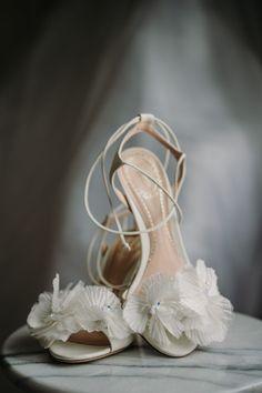 White ruffle bridal shoes