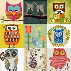 retro/ folk art owls by Tillmiester