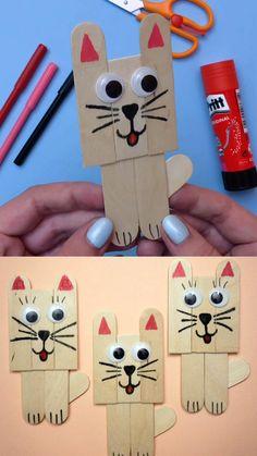 cat crafts for kids / cat crafts ; cat crafts for kids ; cat crafts for toddlers ; cat crafts for kids easy ; cat crafts for adults ; cat crafts for kids art projects Popsicle Stick Art, Popsicle Stick Crafts For Kids, Crafts For Kids To Make, Craft Stick Crafts, Art For Kids, Craft Art, Craft Kids, Kids Diy, Craft Sticks