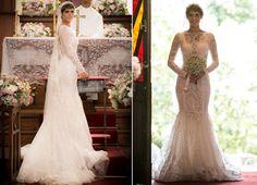 Isabella Santoni posa com o vestido de noiva de Letícia em 'A Lei do Amor' (Foto: Raphael Dias/Gshow)