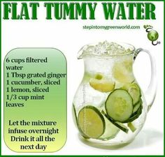 Water with cukes, lemon, mint & ginger.
