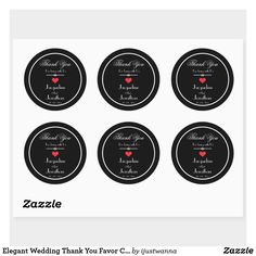 Elegant Wedding Thank You Favor Classy Vintage Classic Round Stickers. Created by RjFxx *All rights reserved. #WeddingThankYouRoundStickers #Wedding