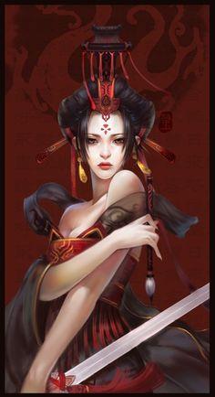 geisha - painting of a Chinese female emperor. 3d Fantasy, Fantasy Warrior, Fantasy Women, Fantasy Girl, Fantasy Samurai, Woman Warrior, Fantasy Makeup, Ronin Samurai, Digital Art Gallery