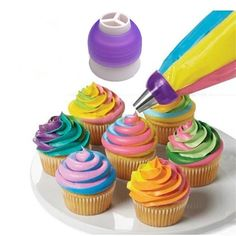 1X Icing Piping Bag Tri-Color Cream Coupler Nozzle Converter For Cupcake 3 Hole