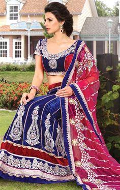 Beautious Nevy Blue and Pink Lehenga Choli Set HSPVEN408 - www.indianwardrobe.com