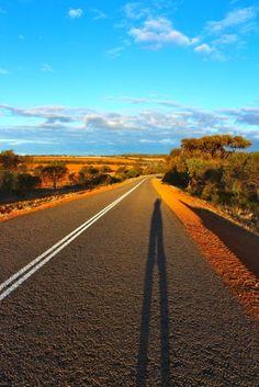 On the road to Kalbarri, Western Australia. The sky was midnight blue at night. Beautiful
