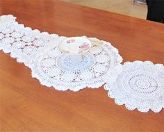 Paulette Table Runner Vintage Doilies Cream Beige white Floral Crochet