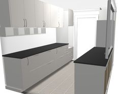 from IKEA kitchen planner - parallel kitchen with Veddinge white doors and black stone worktops. Östhamra cabinets under the wall cabinets.