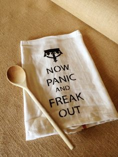 {Tea Towel} PANIC NOW & FREAK OUT funny Dish Cloth - by RunWildHorses on madeit. Love it :-) Dish Towels, Hand Towels, Tea Towels, Yoga Towel, Freak Out, Kitchen Towels, Hostess Gifts, Silhouettes, Machine Embroidery