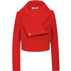 Kenzo Wool-Blend Cropped Jacket with Oversize Collar (11.195 UYU) ❤ liked on Polyvore featuring outerwear, jackets, coats, casacos, red, kenzo, red cropped jacket, wrap jacket, cropped jacket and red double breasted jacket