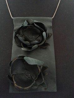 Deri kolye-gümüş zincir