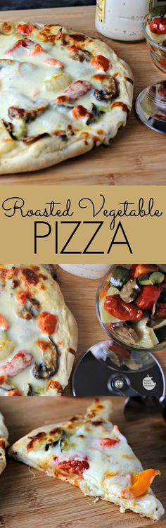 Roasted Vegetable Pizza | Renee's Kitchen Adventures -Roasted veggies are nestled on a creamy layer of jarred light Alfredo sauce and covered in mozzarella and Parmesan cheeses. Vegetarian and meatless recipe.