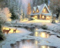 kinkade paintings | ... holiday card with the painting below and the love affair continued