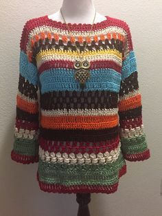 Crochet Blouse Patterns Beautiful Multicolor Sweater made with left over cotton thread. - Beautiful Multicolor Sweater made with left over cotton thread. Crochet Tunic Pattern, Crochet Jumper, Black Crochet Dress, Crochet Coat, Crochet Jacket, Crochet Cardigan, Crochet Clothes, Crochet Patterns, Crochet Patron