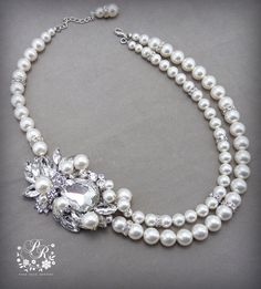 Wedding Necklace Swarovski Pearl & Clear by PureRainDesigns, $65.00