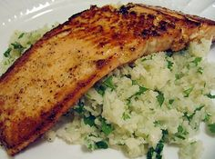 Lime Butter Salmon with Cilantro Lime Cauliflower Rice