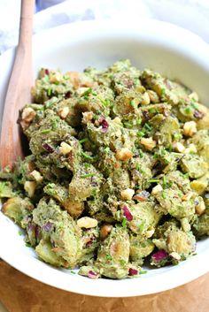 Roasted Potato Pesto Salad (Healthy Vegan Gluten Free)