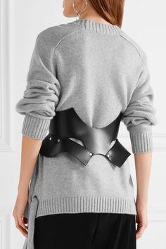 Zana Bayne - Bat Cutout Studded Leather Waist Belt - Black - M