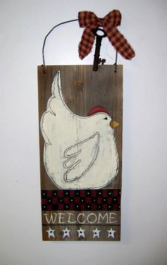 White Chicken Black and Red checker Board by barbsheartstrokes
