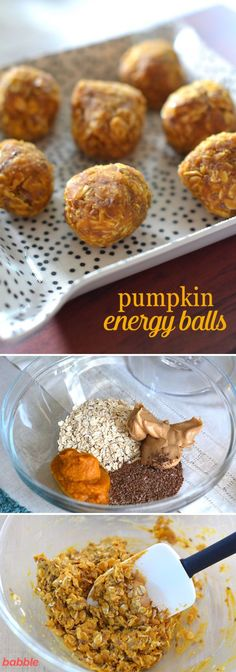 These Pumpkin Energy Balls are a great healthy recipe for the ultimate fall flavor. This no-bake snack (or breakfast) recipe only involves five ingredients: peanut butter, pumpkin puree, old-fashioned oats, flax seeds, and honey. Yum-o! Healthy Protein Snacks, Protein Bites, Healthy Sweets, Energy Bites, Healthy Fit, Energy Snacks, Healthy Drinks For Energy, Healthy Choices, Healthy Eating