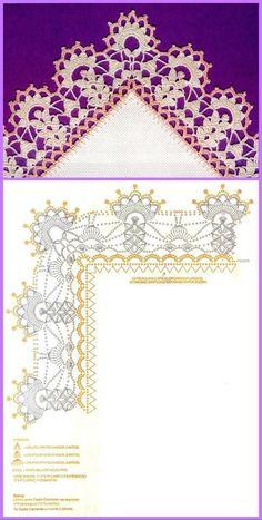Luty Artes Crochet: Barrados e Crochet Edging Patterns, Crochet Lace Edging, Crochet Borders, Doily Patterns, Crochet Chart, Filet Crochet, Crochet Designs, Crochet Doilies, Crochet Stitches