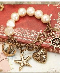 #colorsofsummer A cute nautical bracelet, plus classy pearls!