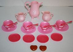 Barbie pink plastic Tea Set Preschool Pretend Girl Play cup pot plate 1996 21 pc #Mattel