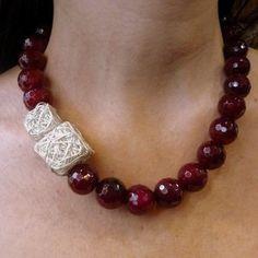 Fucsia rosa collar collar de Jade rosa collar de por Ellishshop