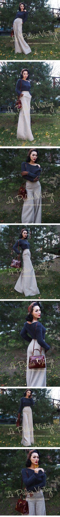 Envío gratis Le palais vendimia tweed de color beige elegante vintage todo fósforo de la cintura los pantalones / pantalones en Pantalones y Capris de Moda y Complementos Mujer en AliExpress.com | Alibaba Group
