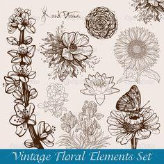 depositphotos_6097015-Vintage-flowers-set.jpg (1022×1024)