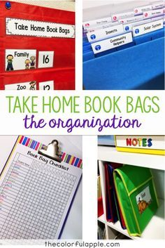 Take Home Book Bags are a neat way to switch up reading homework and get families involved! This post shares the best ways to organize the book bag system.