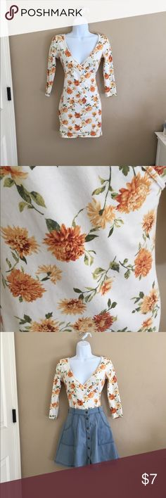 Romantic marigold print bodycon Short bodycon, sexy over tights or romantic tucked into a jean skirt. Forever 21 Dresses Mini