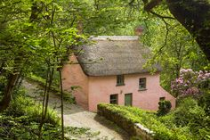 Holiday at Bridge Cottage, Peppercombe, Horns Cross, North Devon - - Fairytale Cottage, Garden Cottage, Cozy Cottage, Cottage Homes, Cottage Style, Storybook Cottage, Thatched Roof, Pink Houses, Cabins And Cottages