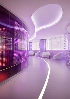 IBM's Futuristic Office, futuristic interior design, neon light