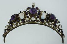 Victorian C 1900 Austro Hungarian Silver Amethyst Pearl Moonstone Tiara Crown