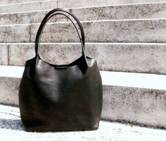 Black leather bag black leather shopper leather handbag by BogaBag, $90.00