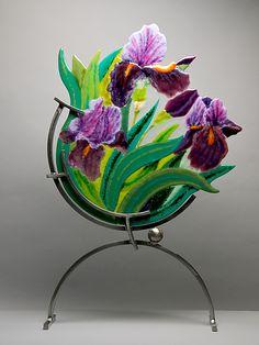 """Dancing Iris"" Art Glass Sculpture Created by Anne Nye"