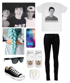 """""""Hanging out with Hayes,Carter and Aaron!"""" by be-robinson ❤ liked on Polyvore featuring Yves Saint Laurent and Converse"""
