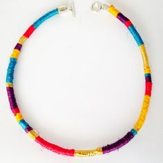 Tribal Fique/Rope Cord Necklace / Colorful Rainbow by HFCO on Etsy, £12.00