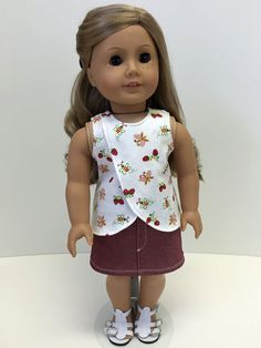 """18"""" Inch Doll Clothes - American Girl Doll Clothes - 18 Inch Doll Clothes - American Girl Doll Outift - Top / Red Denim Skirt Outfit"""