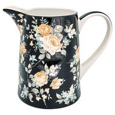 Krug Josephine Black, l Green GateGreen Gate Flora Vintage, Mugs And Jugs, China Mugs, Vase, Plates And Bowls, Shabby Chic, Green, Black, Catalog