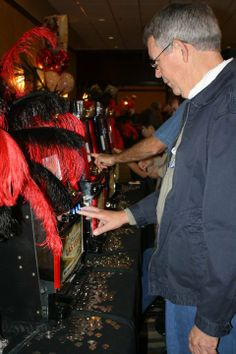 Roaring 20's Theme Party Red & Black Feather Centerpieces, Casino Games