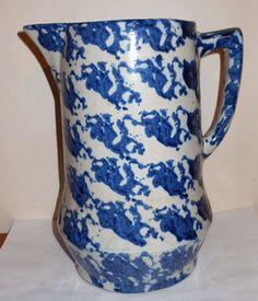 Antique Blue White Spongeware Pitcher | eBay